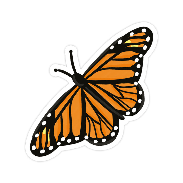 Butterfly Sticker - Bloomwolf Studio Orange Colored Butterfly, With Black Prints and White Dots