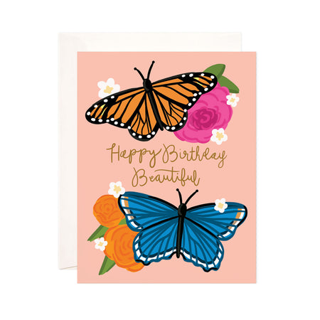 Butterfly Birthday - Bloomwolf Studio Card That Says Happy Birthday Beautiful, Orange and Blue Butterflies, Roses