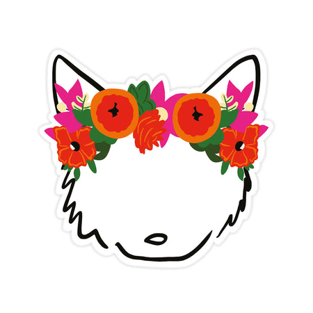 Bloomwolf Logo Sticker - Bloomwolf Studio Sticker, Pet With a Red and Pink Floral Design Headdress, Green Leaves