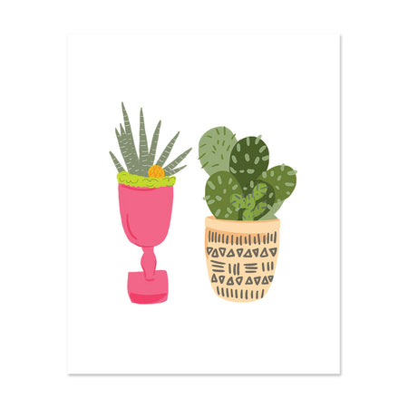 Cacti Duo Art Print - Bloomwolf Studio Print of 2 Potted Green Cacti, Pink and Beige Pots