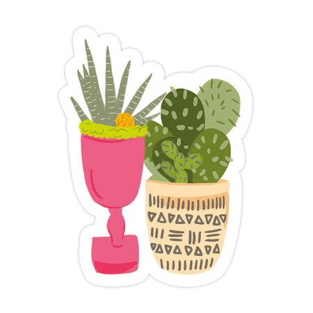 Cacti Duo Sticker - Bloomwolf Studio Cacti In Pink and Light Yellow Pots
