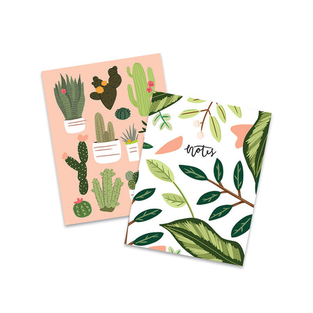Cacti Leaves Pocket Notebooks - Bloomwolf Studio Set of  Notebooks, Green Cacti, Green Leaves