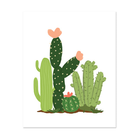 Cacti Field Art Print - Bloomwolf Studio Print of 4 Green Cacti