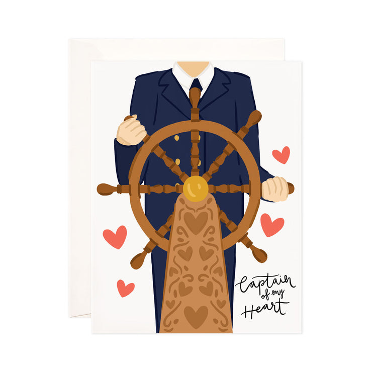 Captain of My Heart - Bloomwolf Studio Card That Says Captain of My Heart, Ship Captain in Blue Suit, Brown Ship Wheel, Red Hearts