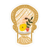 Peacock Chair Sticker - Bloomwolf Studio Sticker of a Brown Woven Chair, Yellow, Red, White and Beige Flowers, White Cushion