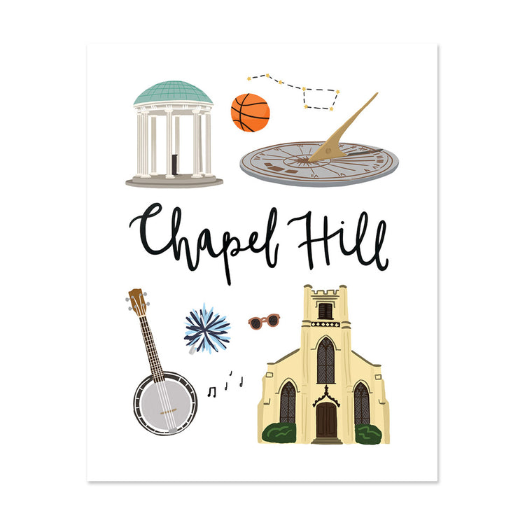 City Art Prints - Chapel Hill - Bloomwolf Studio Print About Chapel Hill, Bright Colors, State Landmarks + Historical Places + Notable Places