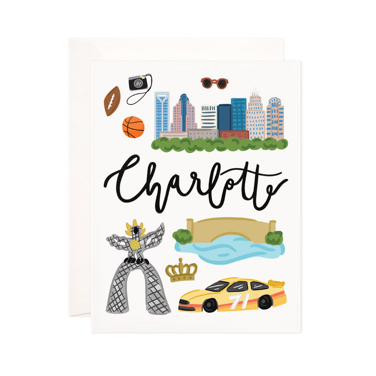 Charlotte - Bloomwolf Studio Card About Things to Do in Charlotte, Bright Colors, State Landmarks + Historical Places + Notable Places