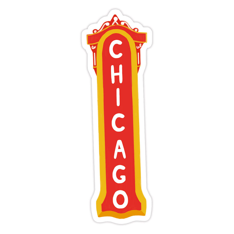 Chicago Sticker - Bloomwolf Studio Sticker With the Red Chicago Theater Signage Design