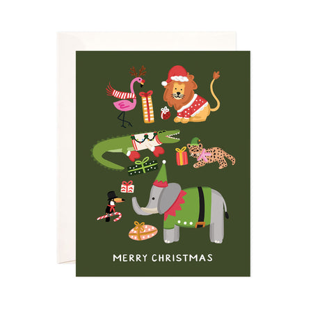 Christmas + Holiday Animals - Bloomwolf Studio Card That Says Merry Christmas + Holiday, Green Background, Gifts, Animals in Colorful Costumes