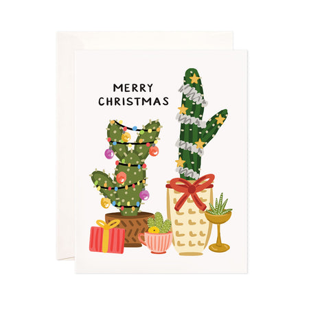Christmas + Holiday Cacti - Bloomwolf Studio Merry Christmas + Holiday Card With Cactus as Christmas + Holiday Tree With Yellow Stars, Colorful Ornaments