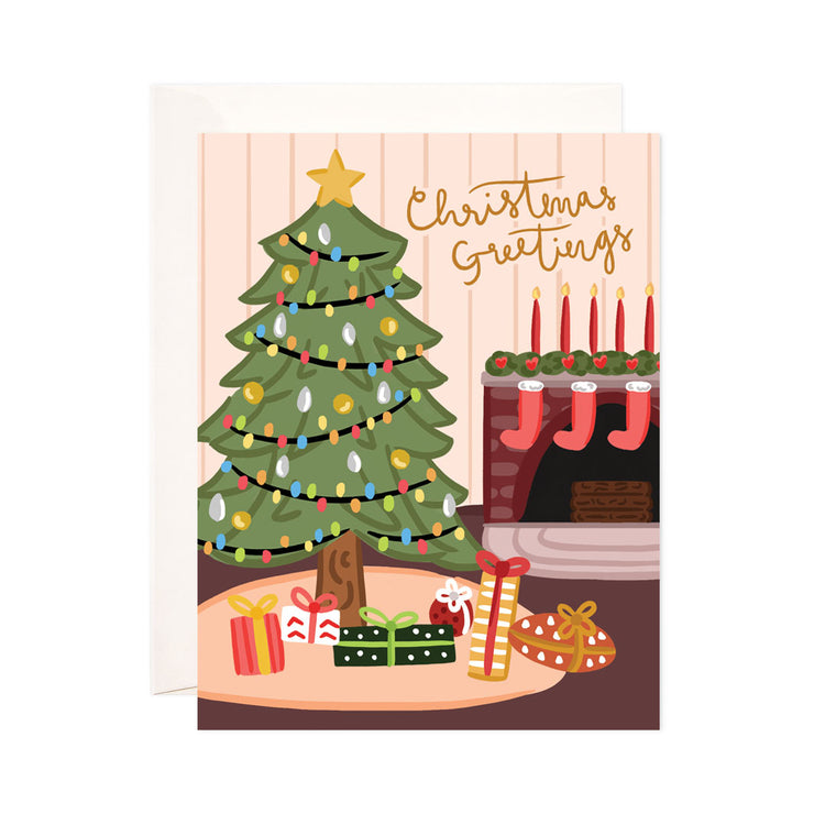 Christmas + Holiday Tree Scene - Bloomwolf Studio Card That Says Christmas + Holiday Greetings, Bright Colors, Indoor Decorations