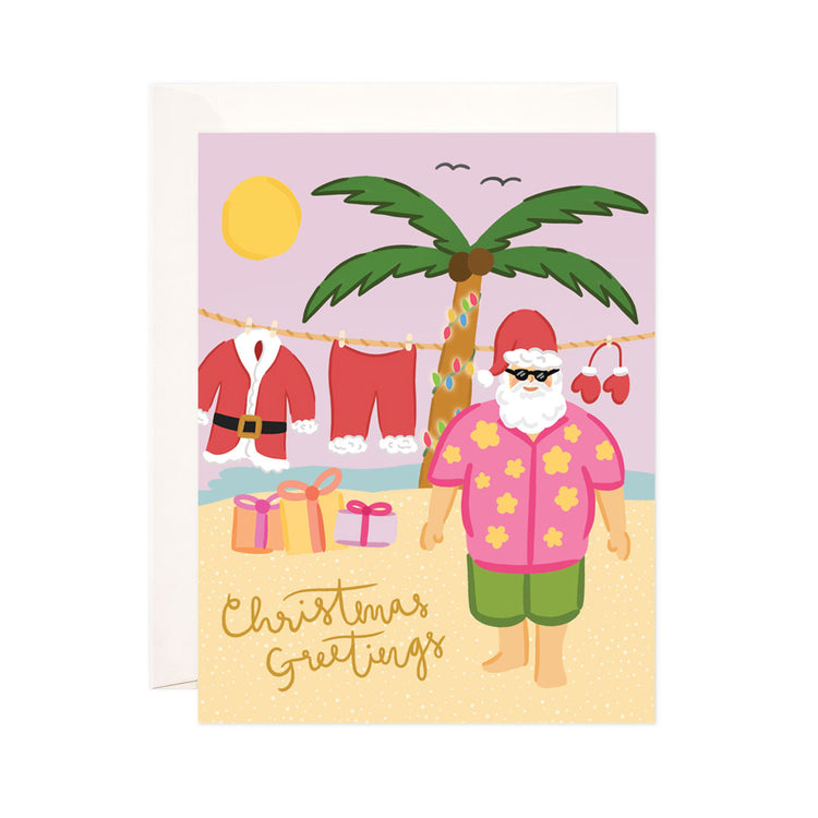Santa's Vacation - Bloomwolf Studio Card That Says Christmas + Holiday Greetings, Bright Colors, Santa in an Island Vacation