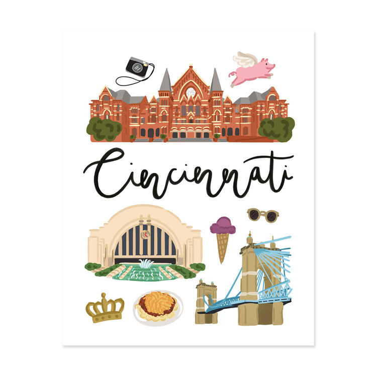 City Art Prints - Cincinnati - Bloomwolf Studio