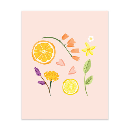 Citrus & Flowers Art Print