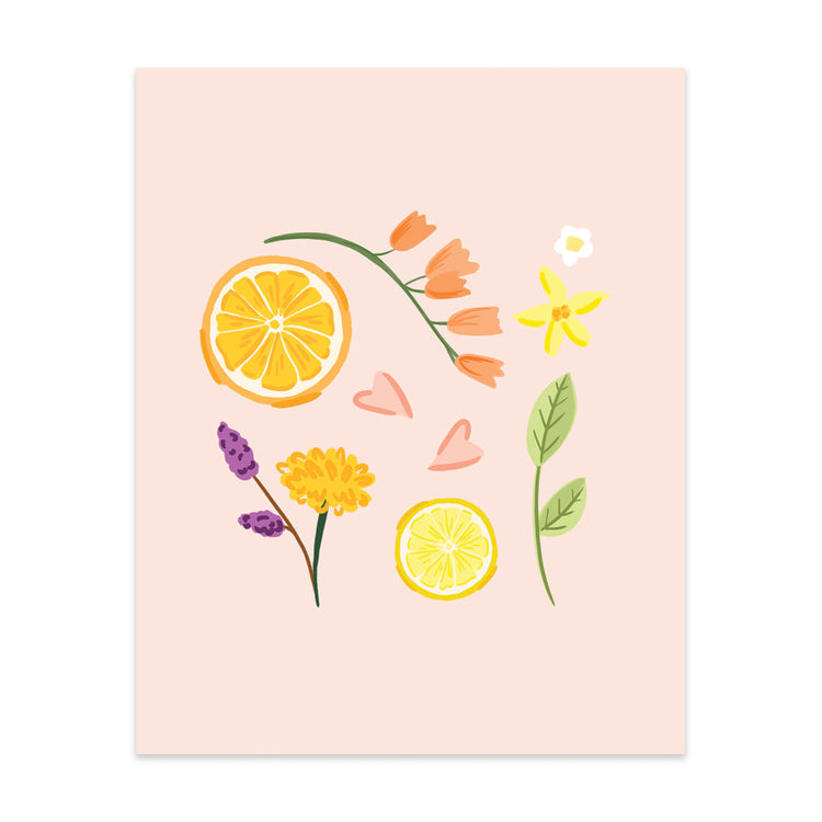 Citrus & Flowers Art Print - Bloomwolf Studio Print of Citrus, Flowers in Orange, Yellow, Violet + Purple Colors, Green Leaves