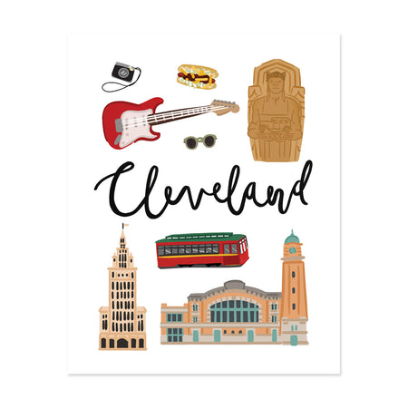 City Art Prints - Cleveland - Bloomwolf Studio Print About Things to Do in Cleveland, Neutral Colors, City Landmarks + Historical Places + Notable Places