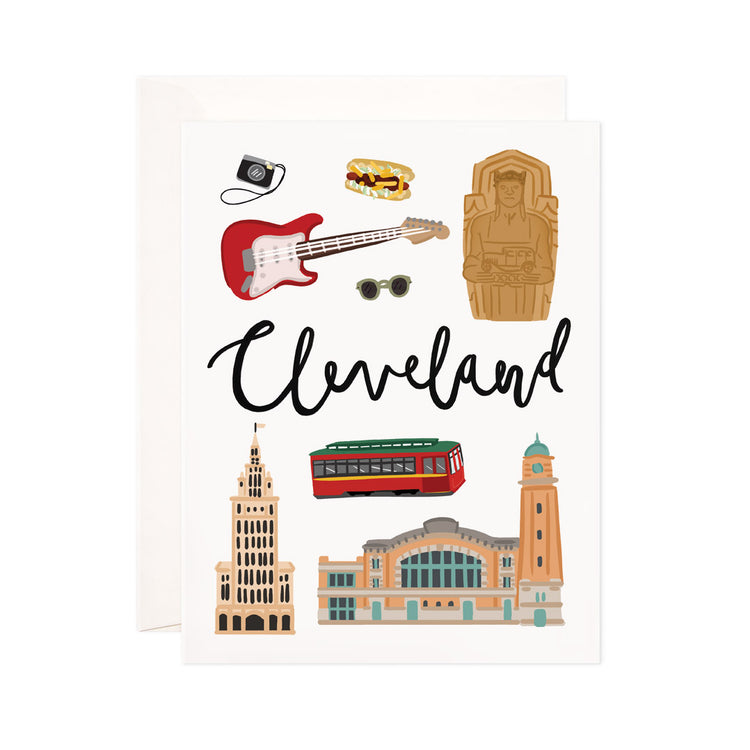 Cleveland - Bloomwolf Studio Card About Things to Do in Cleveland, Bright Colors, State Landmarks + Historical Places + Notable Places