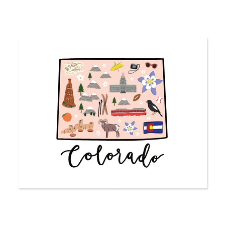 State Art Prints - Colorado - Bloomwolf Studio Print About Things to Do in Colorado, Neutral Colors, City Landmarks + Historical Places + Notable Places