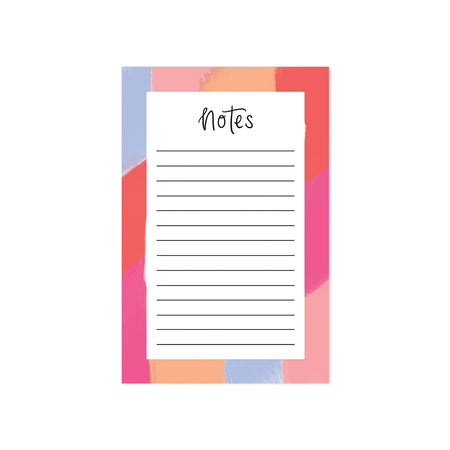 Colorful Brushstrokes Notepad - Bloomwolf Studio Notepads, Red, Orange, Pink, Purple Shades on the Sides