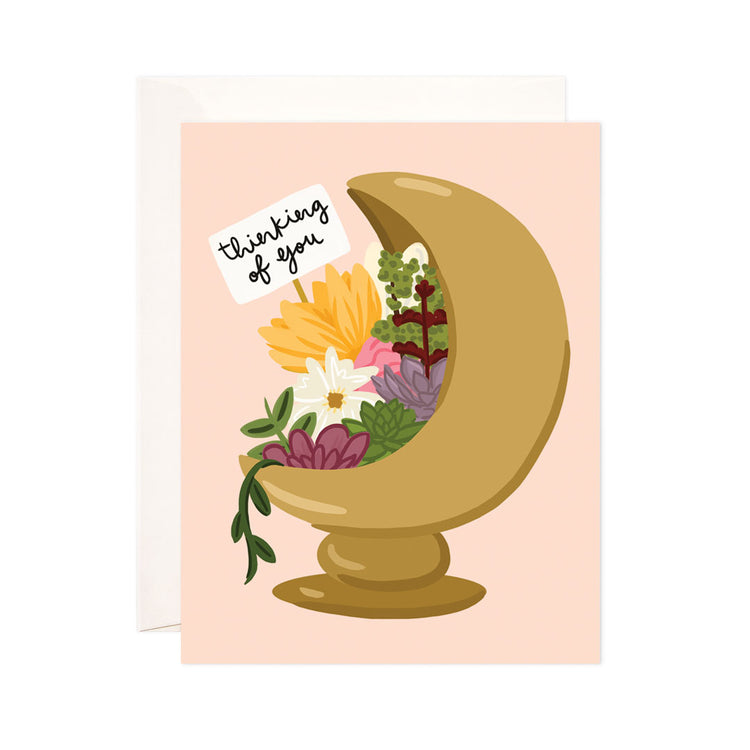 Crescent Moon Florals - Bloomwolf Studio Card That Says Thinking of You With Yellow, Pink, Maroon, Purple, White, Green Flowers, Moon Shaped Vase.