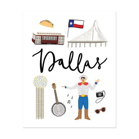 City Art Prints - Dallas - Bloomwolf Studio Print About Things to Do in Dallas, Neutral Colors, City Landmarks + Historical Places + Notable Places
