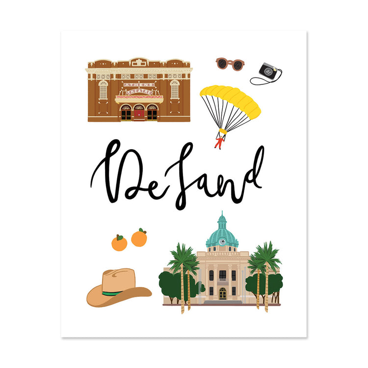City Art Prints - DeLand - Bloomwolf Studio Print About Things to Do in DeLand, Neutral and Bright Colors, City Landmarks + Historical Places + Notable Places