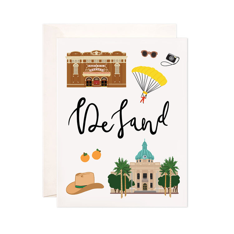 DeLand - Bloomwolf Studio Card About Things to Do in DeLand, Neutral and Bright Colors, City Landmarks + Historical Places + Notable Places