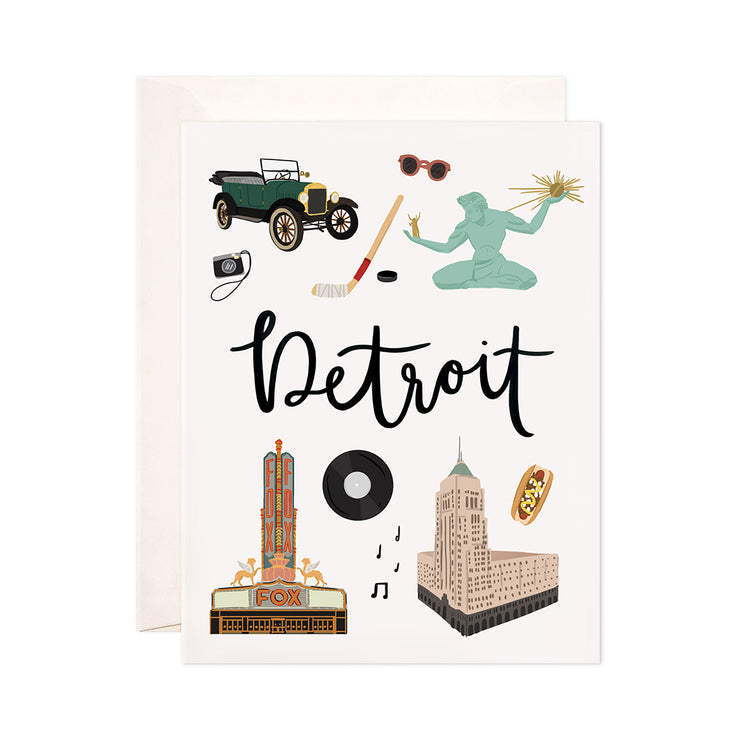 Detroit - Bloomwolf Studio Card About Things to Do in Detroit, Neutral Colors, City Landmarks + Historical Places + Notable Places