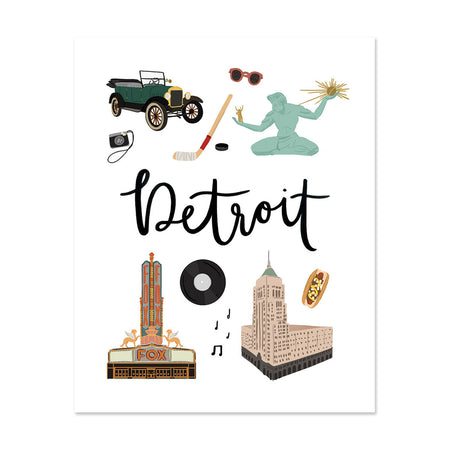 City Art Prints - Detroit - Bloomwolf Studio Print About Things to Do in Detroit, Neutral Colors, City Landmarks + Historical Places + Notable Places