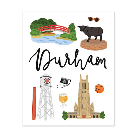 City Art Prints - Durham - Bloomwolf Studio Print About Things to Do in Durham, Bright Colors, State Landmarks + Historical Places + Notable Places
