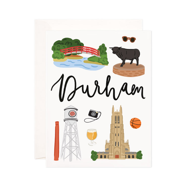 Durham - Bloomwolf Studio Card About Things to Do in Durham, Bright Colors, State Landmarks + Historical Places + Notable Places