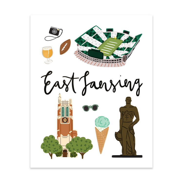 City Art Prints - East Lansing - Bloomwolf Studio Print on Things to Do in East Lansing, Bright Colors, State Landmarks + Historical Places + Notable Places
