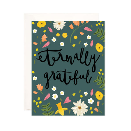Eternally Grateful - Bloomwolf Studio Green Colored Card, Green Leaves, Orange, Yellow, Pink, White Flowers