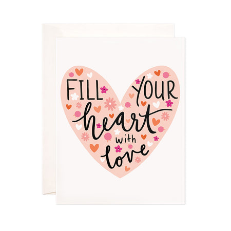 Fill Your Heart - Bloomwolf Studio Love Print, Big Pink Heart, Small Orange Hearts, Small Pink and White Flowers