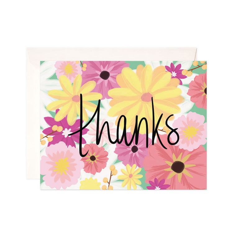 Floral Thanks - Bloomwolf Studio Card That Says Thanks in Black Print, Pastel Colors (yellow, Pink, Red) Flowers