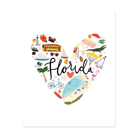 State Art Prints - Florida Love - Bloomwolf Studio Print About Florida, Heart Shaped, Bright Colors, Things to Do, Landmarks + Historical Places + Notable Places,