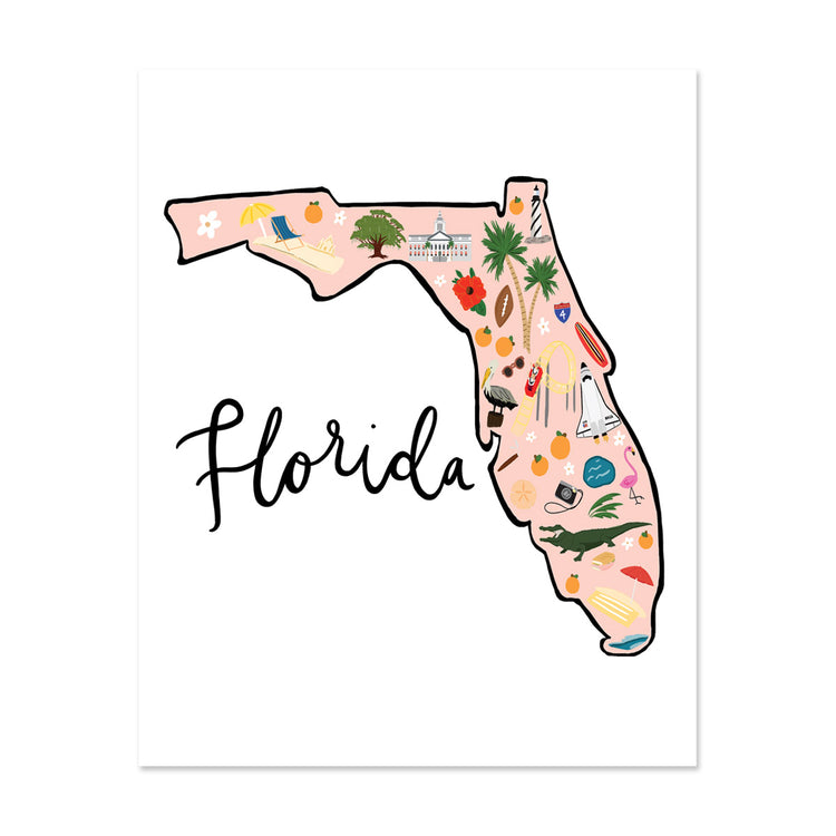 State Art Prints - Florida Art Print - Bloomwolf Studio Print About Florida Map, Bright Colors, Things to Do, City Landmarks + Historical Places + Notable Places