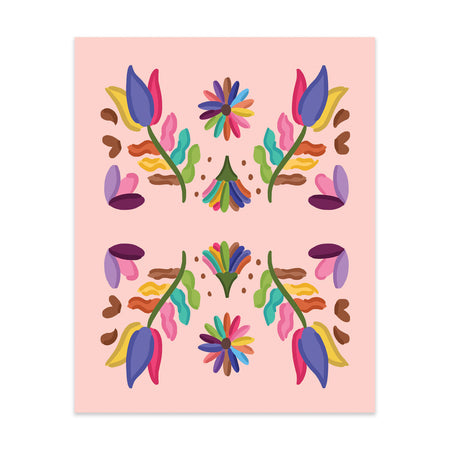 Folk Pattern Art Print - Bloomwolf Studio Print of Bright Rainbow Colored Flowers, Leaves, Petals