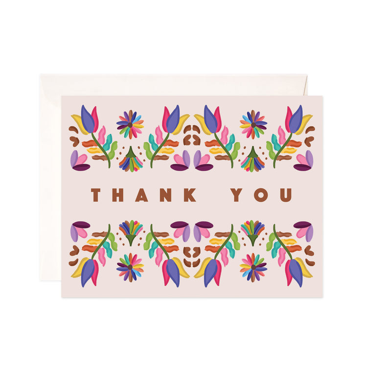 Folk Thank You - Bloomwolf Studio Thank You Card, Bright Colors, Colorful Flowers Above and Below  the Print