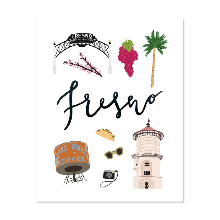 City Art Prints - Fresno - Bloomwolf Studio Print About Fresno, Neutral Colors, Red and Green, Things to Do, City Landmarks + Historical Places + Notable Places