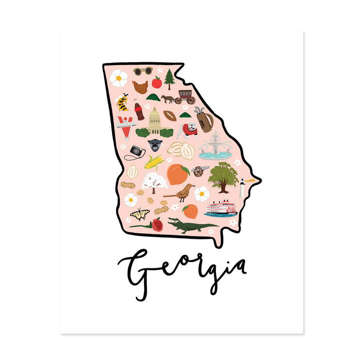 State Art Prints - Georgia - Bloomwolf Studio Print of Georgia Map, Bright Colors, Things to Do, City Landmarks + Historical Places + Notable Places