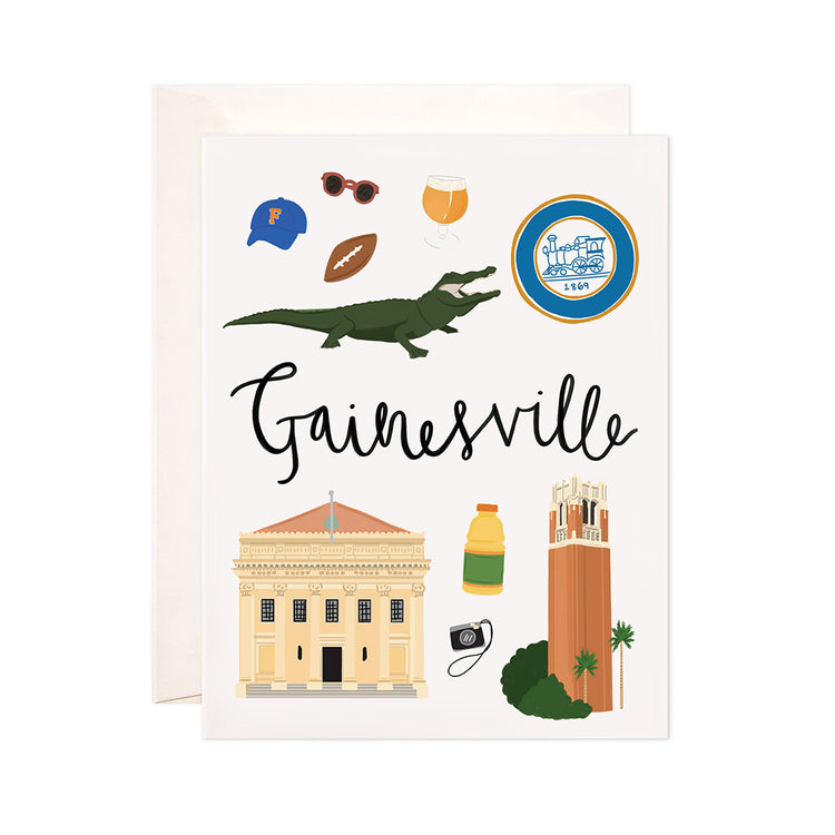 Gainesville - Bloomwolf Studio Card About Gainesville, Neutral and Green Colors, Things to Do, City Landmarks + Historical Places + Notable Places