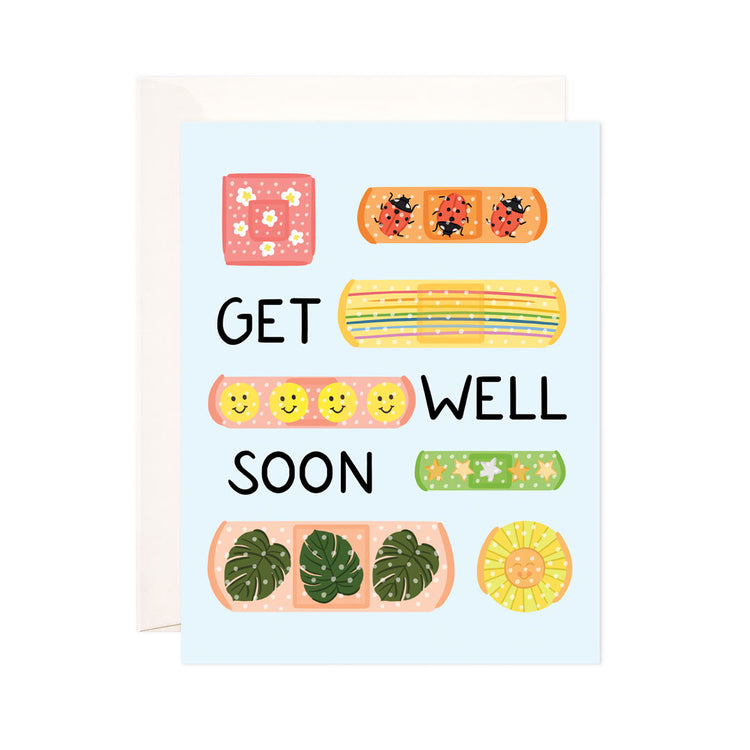 Get Well Bandages - Bloomwolf Studio Card That Says Get Well Soon! Brightly Colored Band Aids With Cute Designs
