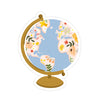 Globe Sticker - Bloomwolf Studio Sticker of a Globe With With Beige, Yellow, Red, Pink Flowers