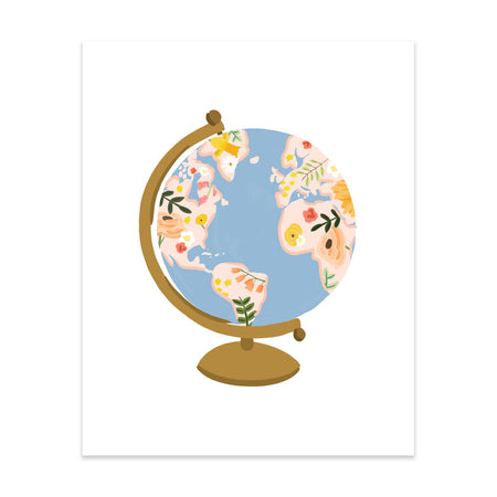 Globe Art Print - Bloomwolf Studio Print of a Globe in Pastel Colors (yellow, Pink, Peach, Orange) Flowers, Green Leaves