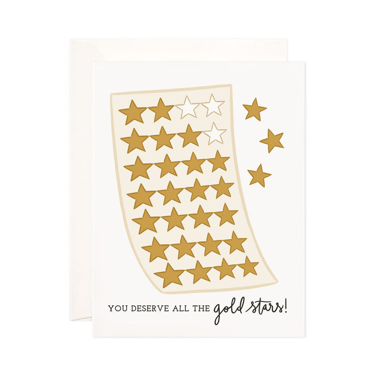 Gold Stars - Bloomwolf Studio Light Yellow Card That Says You Deserve All the Gold Stars, Small Gold Colored Stars Design