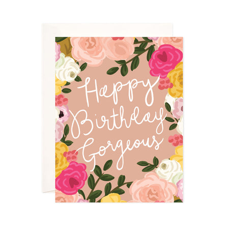Gorgeous Birthday - Bloomwolf Studio Birthday Card, Pink, Red, Yellow and White Flowers, Green Leaves