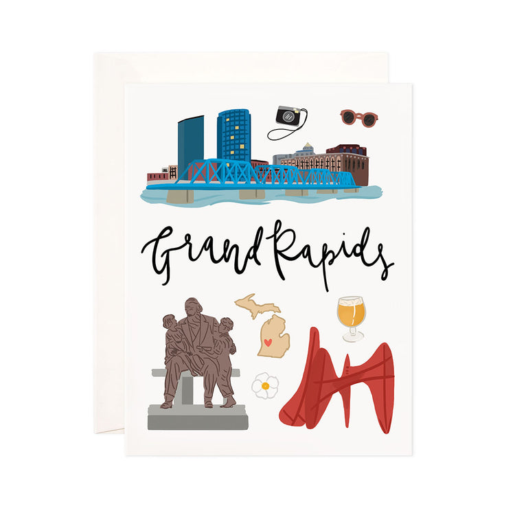 Grand Rapids - Bloomwolf Studio Card About Things to Do in Grand Rapids, Bright Colors, State Landmarks + Historical Places + Notable Places