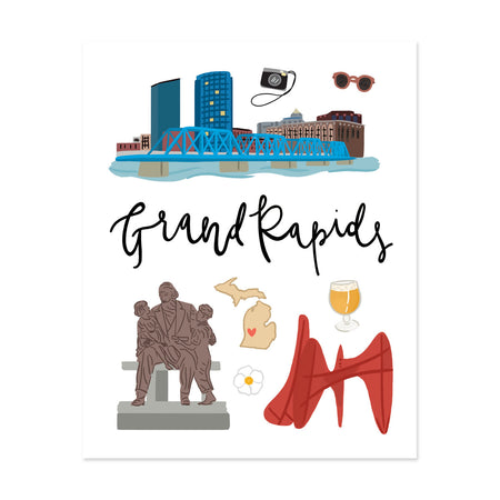City Art Prints - Grand Rapids - Bloomwolf Studio Print About Things to Do in Grand Rapids, Neutral and Bright Colors, City Landmarks + Historical Places + Notable Places, Michigan
