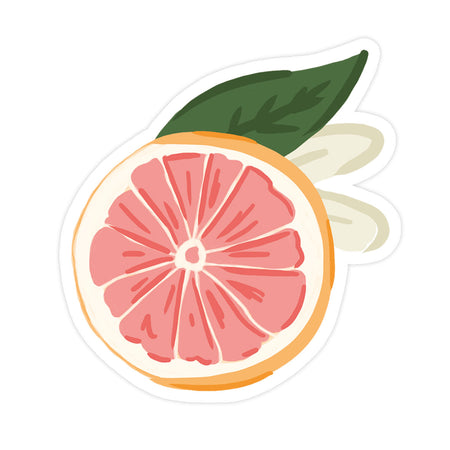 Grapefruit Sticker - Bloomwolf Studio Sticker of a Pink Sliced Grapefruit, Green Leaf